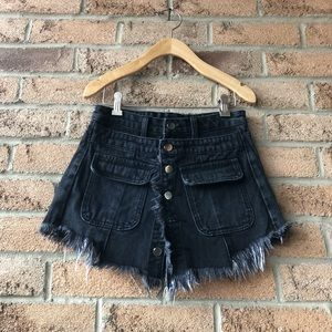 SUNYUER STUDIO | Black jean short with skirt over